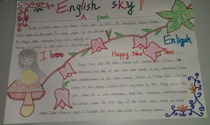初中生英语手抄报版面设计图运动主题展示